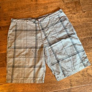 O'Neill Grey Plaid Flat Front Shorts, 38